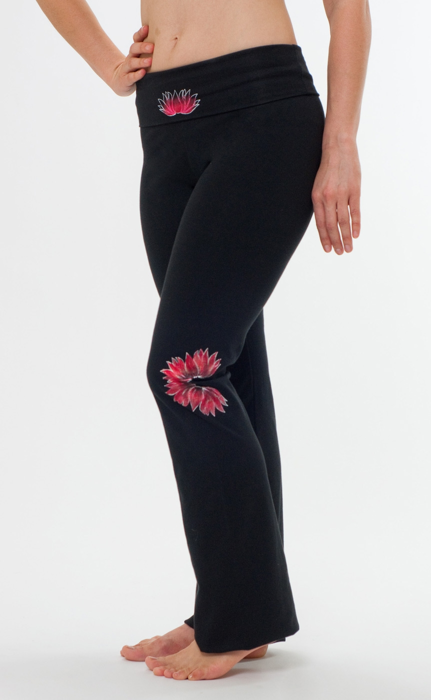 "Yoga pants - hand painted ""Lotus"", black"