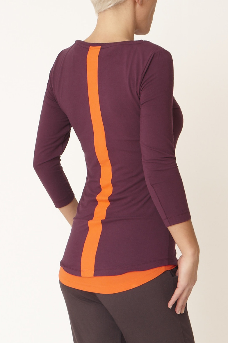 "Yoga-Shirt ""Go to 3/4"" - deep purple/disco orange"