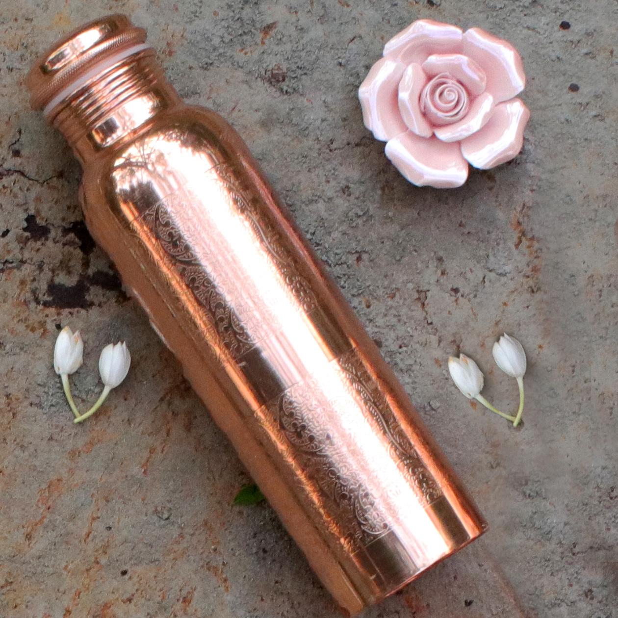Kupferwasserflasche graviert, 0,9 l