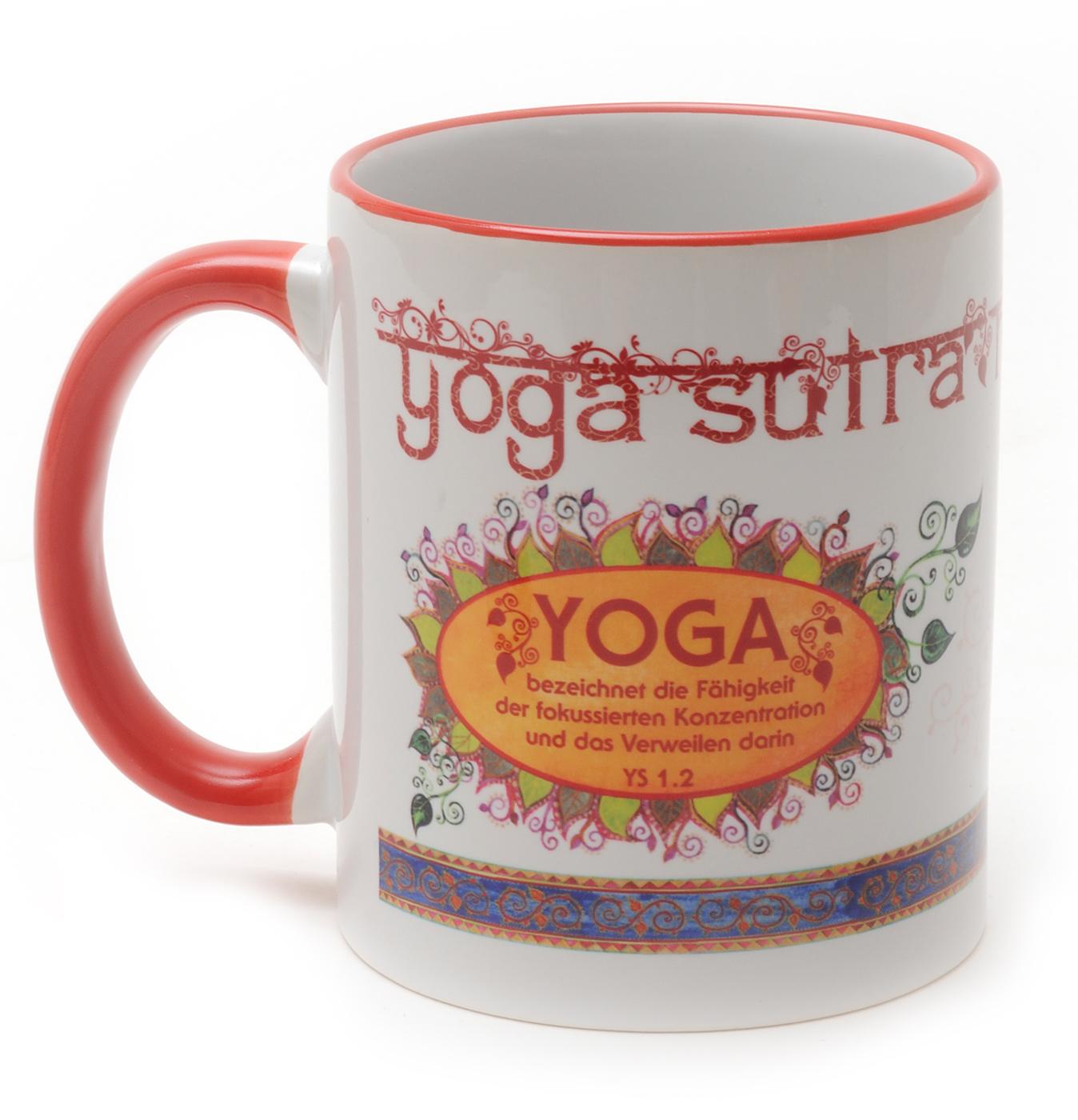 Tasse mit Yoga-Sutra-Motiv