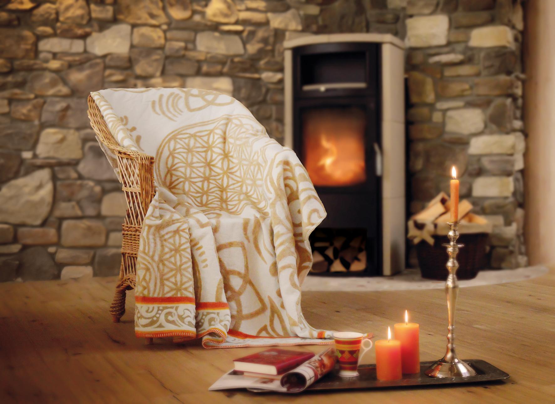 plaid decke aus baumwolle naturbeige sunset im yogishop kaufen yoga yogamatten yoga zubeh r. Black Bedroom Furniture Sets. Home Design Ideas