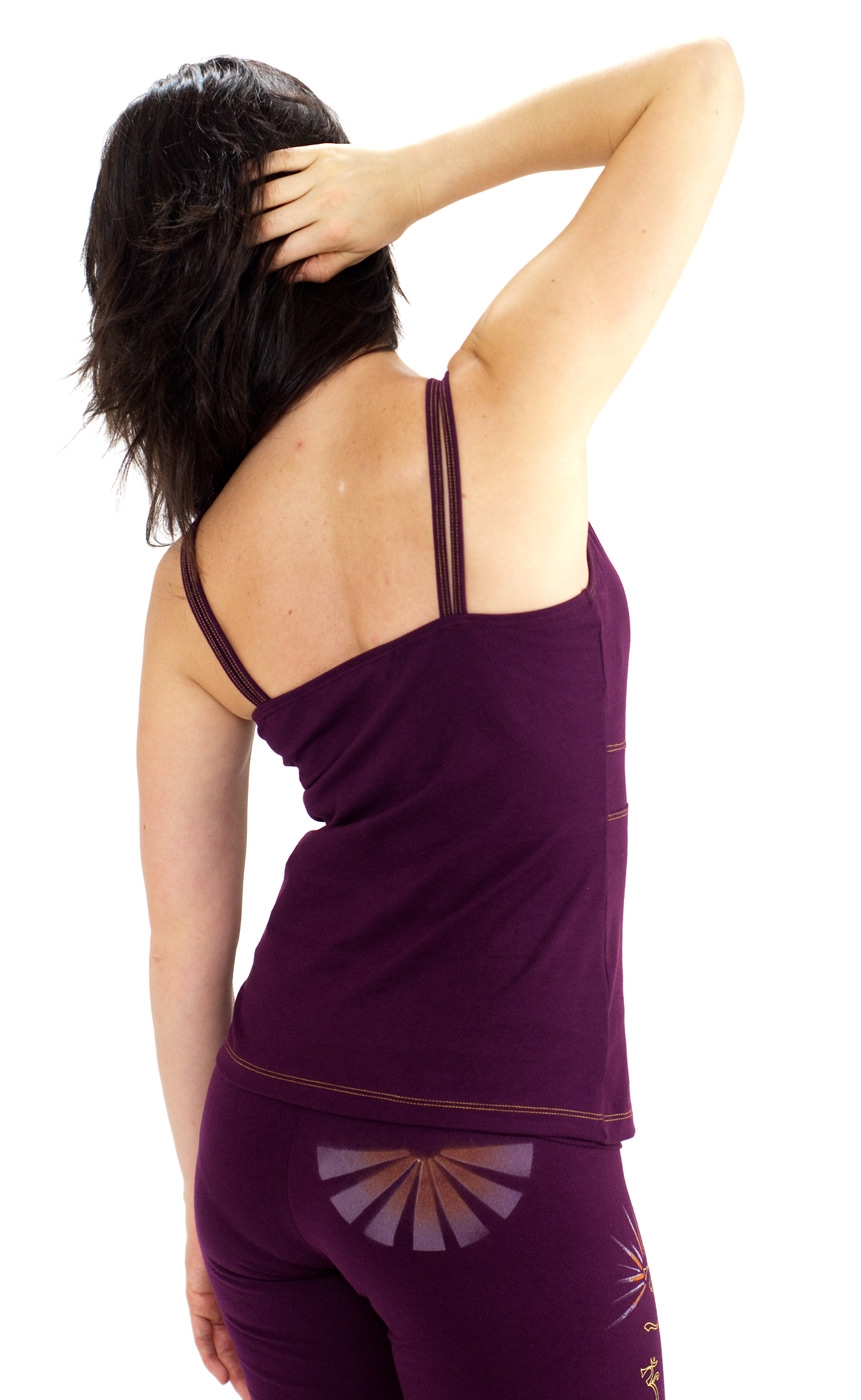 Hand painted Yoga Camisole - OM, burgundy