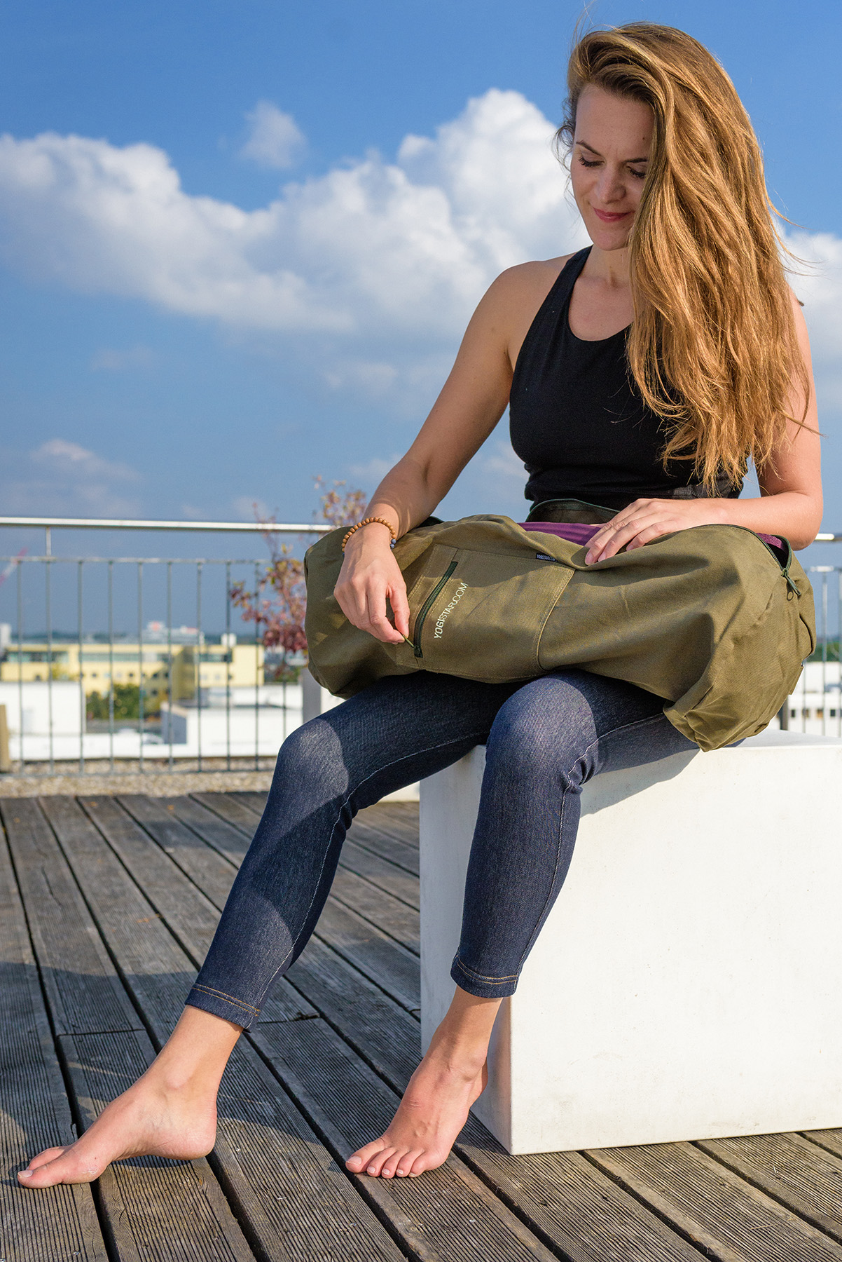 Yoga carrybag basic - zip - cotton - mega big - 73 cm