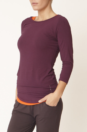 "Shirt ""Go to 3/4 T"" - deep purple/disco orange"