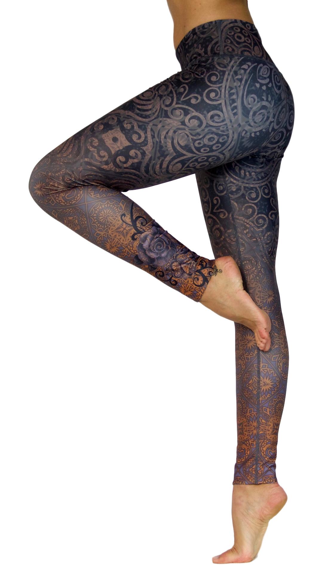 """Yoga Leggings """"Black Rose"""""""