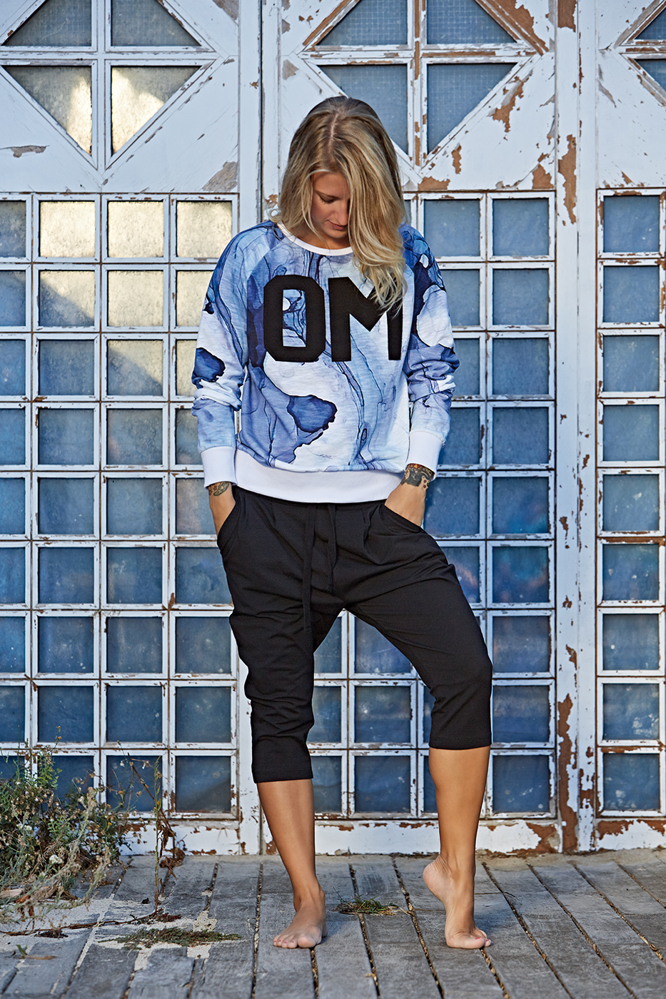"Yoga Sweatshirt ""Ocean"" - blue"