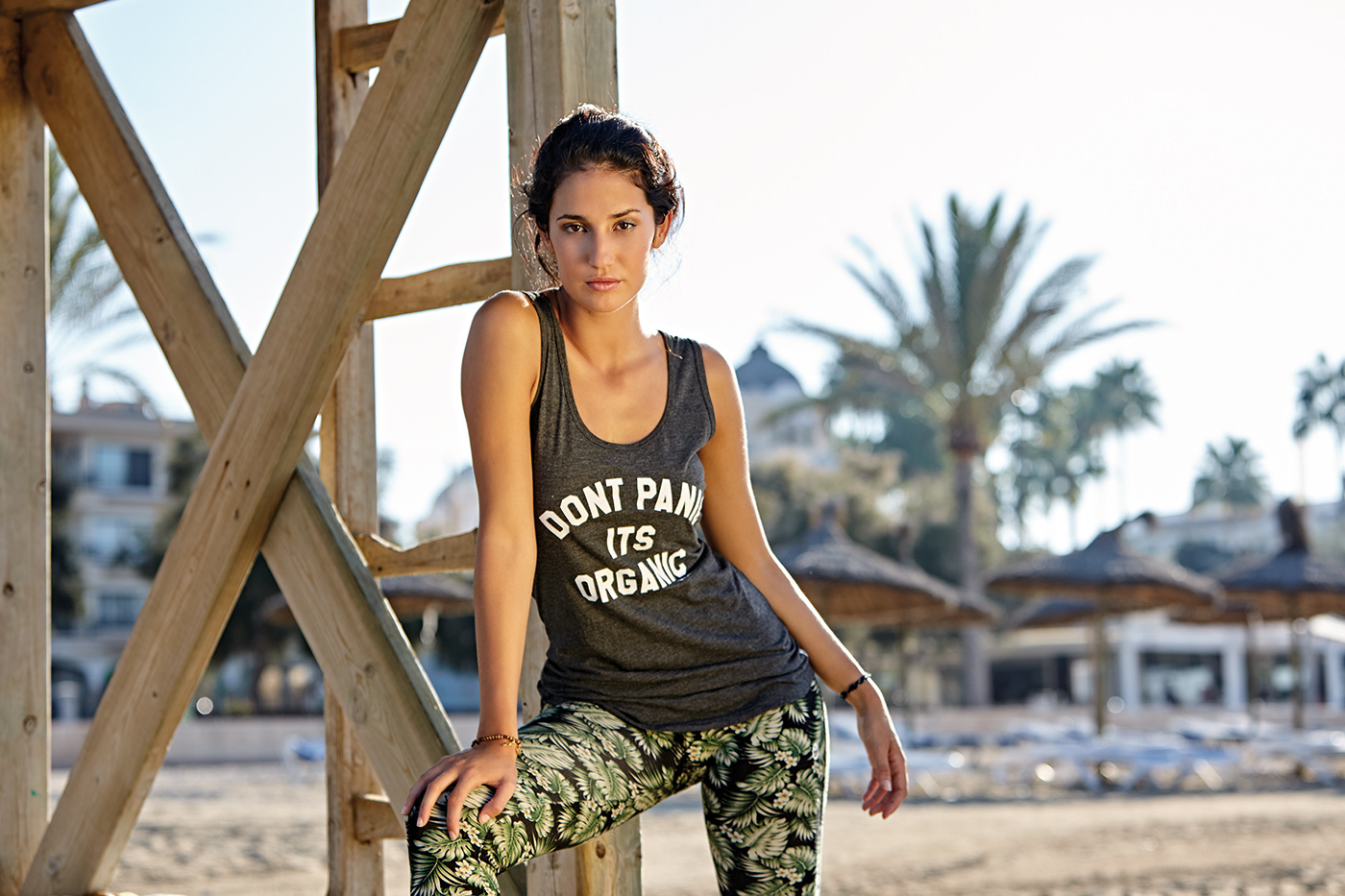 "Yoga Tank-Top ""Don't panic it's organic"" - black"