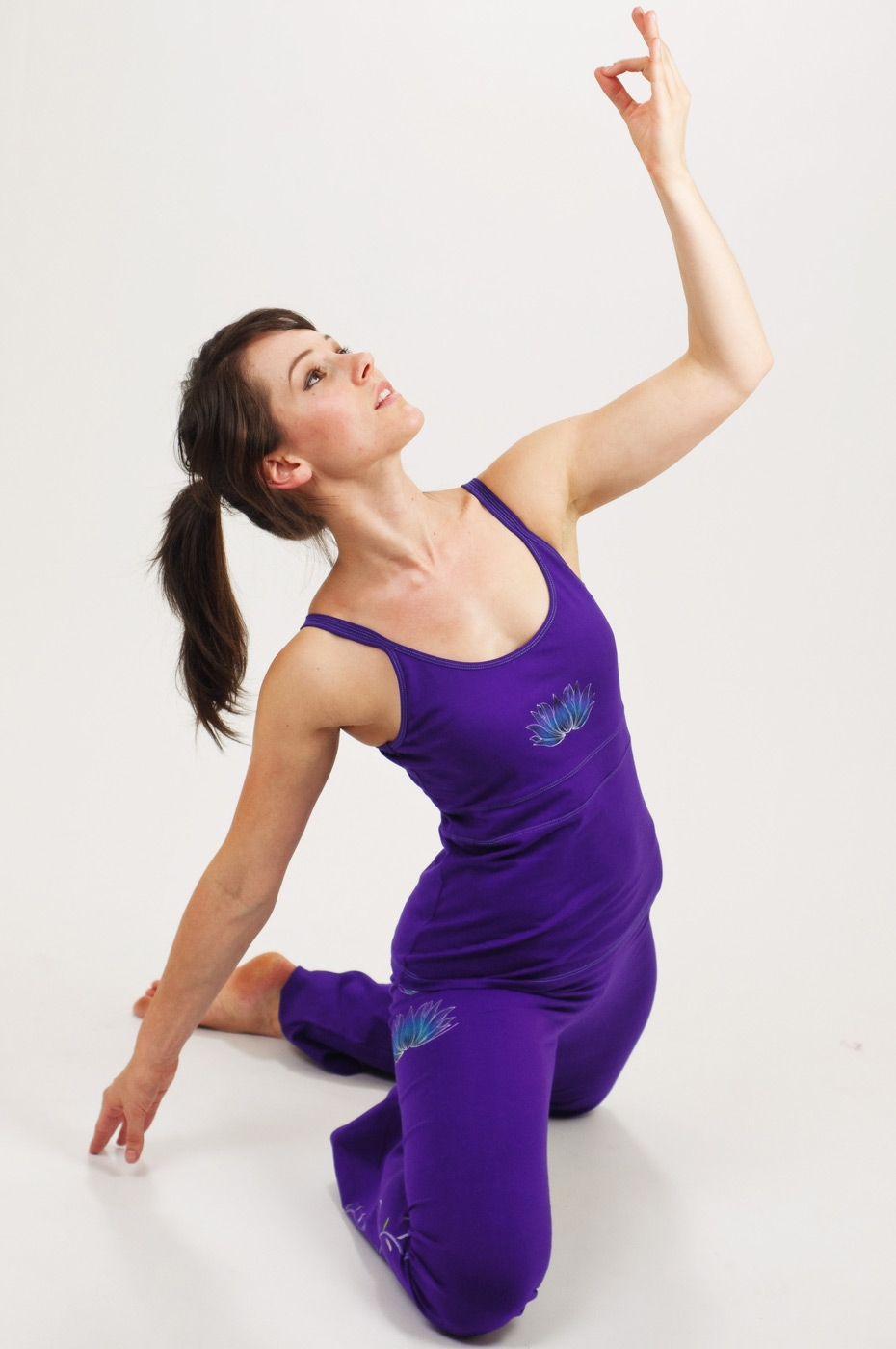 Hand painted Yoga Camisole - Lotus, purple