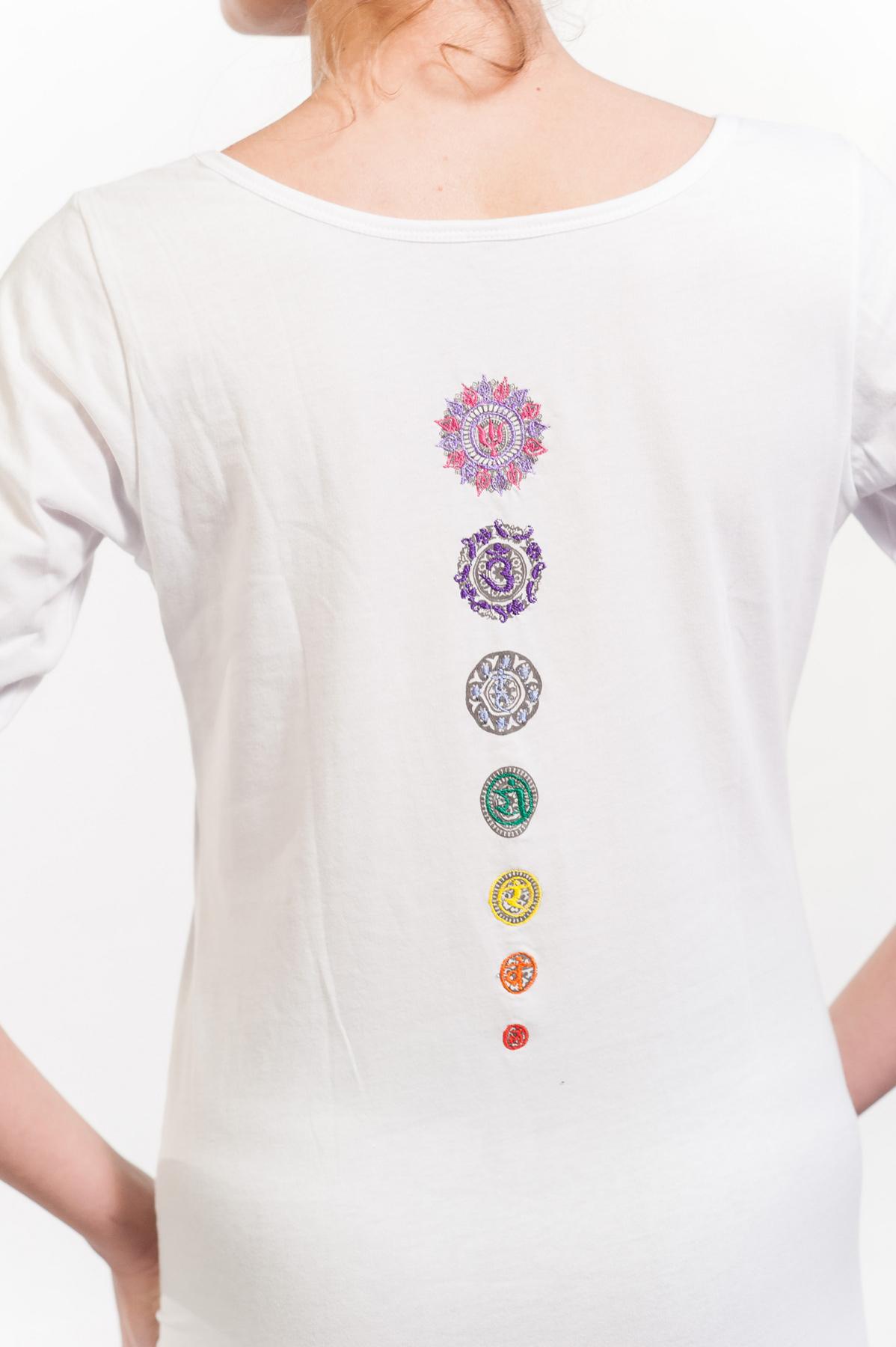"Longsleeve Yoga-Top ""White Chakra"" - white"