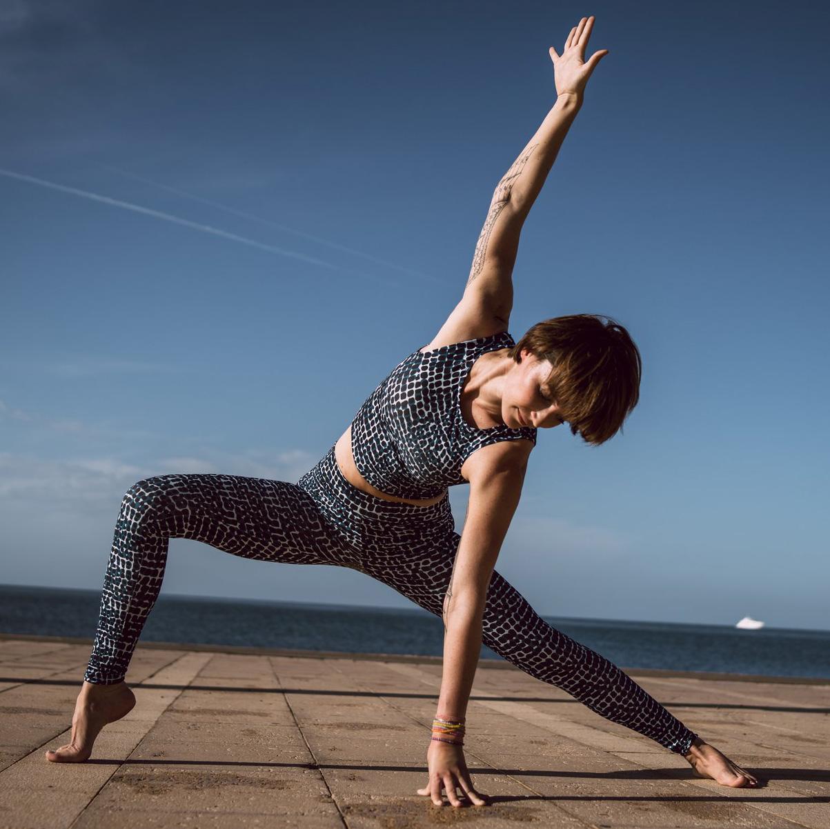 Yoga-Leggings Croco - petrol